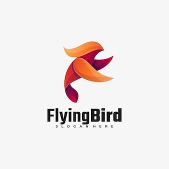 Illustration de logo flying bird gradient style coloré.