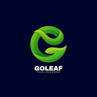 Illustration de logo go style coloré dégradé de feuille.