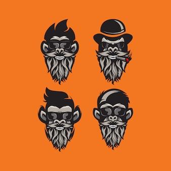 Illustration logo gorila barbe