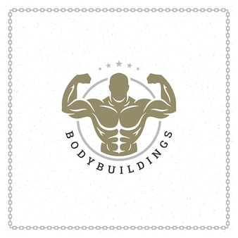 Illustration de logo ou insigne homme culturiste
