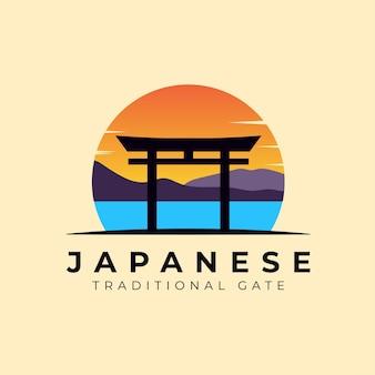 Illustration de logo japonais coucher de soleil porte torii