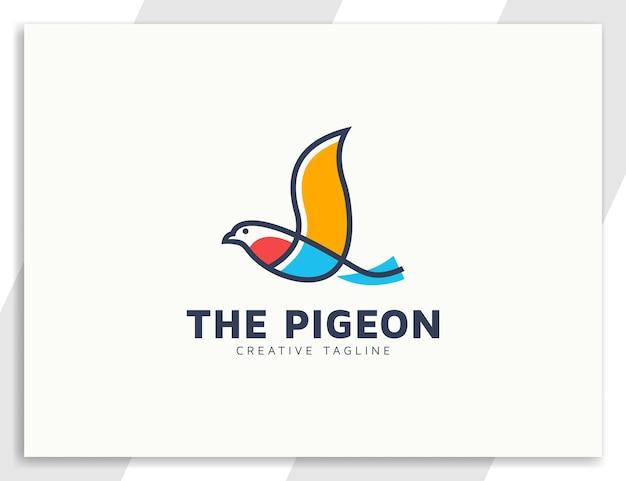 Illustration de logo de ligne d'oiseau pigeon minimaliste