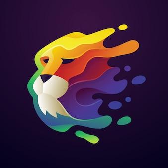 Illustration logo lion coloré
