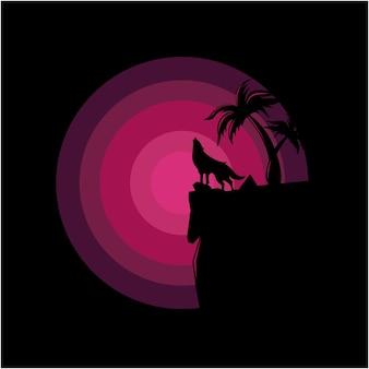 Illustration de logo de loup silhouette vecteur