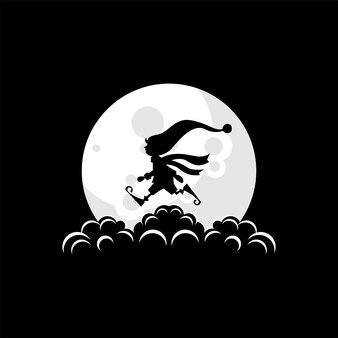 Illustration de logo de lutin de noël sur le vecteur de la lune