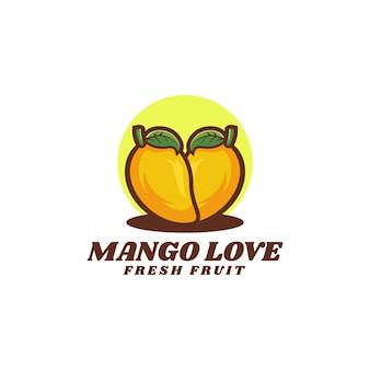 Illustration logo mangue amour dans style mascotte simple