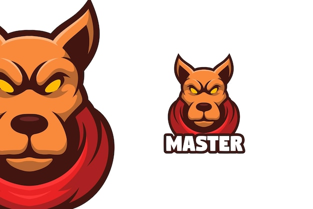 Illustration de logo de mascotte de chien pitbull
