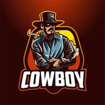 Illustration de logo de mascotte de cow-boy de dessin animé