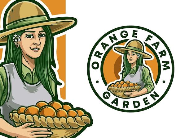 Illustration de logo de mascotte de fermier
