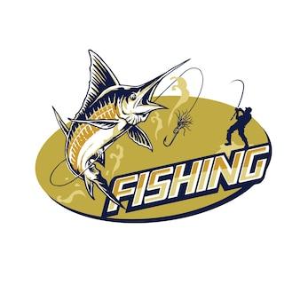 Illustration de logo de mascotte de pêche chic