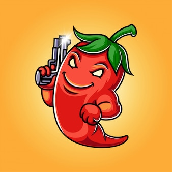 Illustration de logo de mascotte de piment