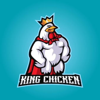 Illustration de logo mascotte poulet roi dessin animé