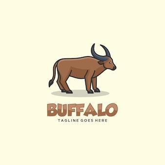 Illustration logo mascotte simple buffle sauvage