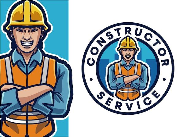 Illustration de logo de mascotte de travailleur de construction