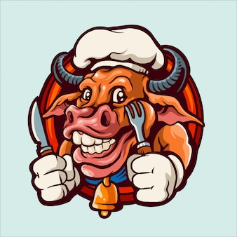Illustration de logo mascotte de vache en chef