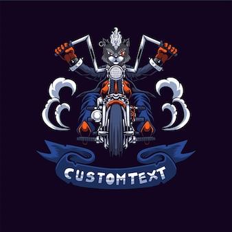 Illustration de logo de motard de chat
