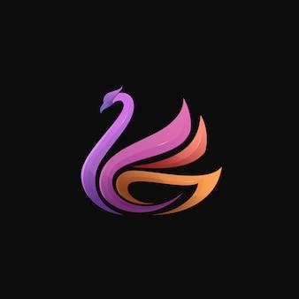 Illustration de logo oiseau moderne coloré dégradé cygne