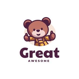 Illustration logo ours mascotte dans style dessin animé