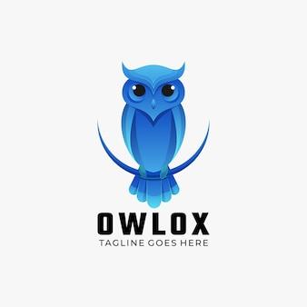 Illustration de logo owl ox gradient style coloré.
