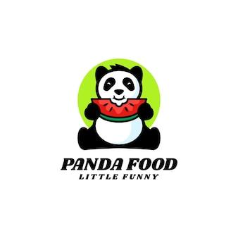 Illustration logo panda nourriture mascotte dans style dessin animé