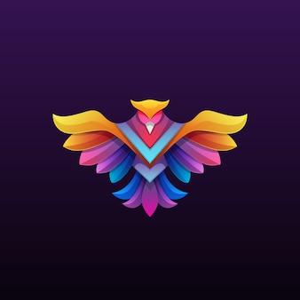 Illustration logo phoenix coloré