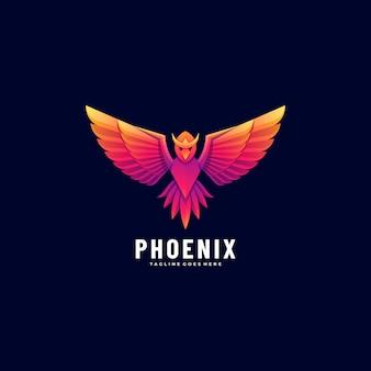 Illustration logo phoenix style coloré dégradé.