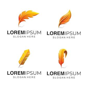 Illustration de logo de plume jaune
