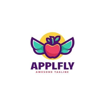 Illustration logo pomme mouche dans style mascotte simple