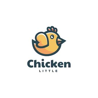 Illustration logo poulet dans style mascotte simple
