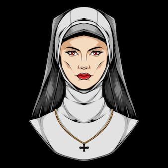 Illustration de logo de prêtre féminin