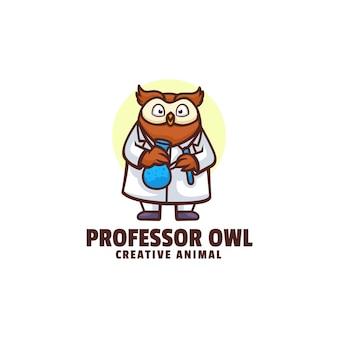 Illustration logo professeur hibou mascotte dans style dessin animé