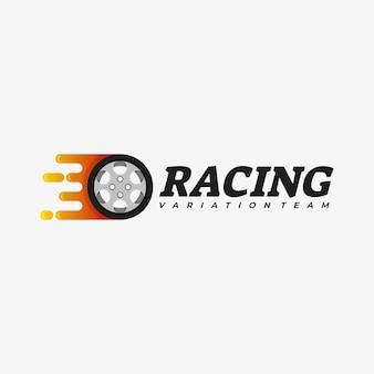 Illustration de logo racing style coloré dégradé.