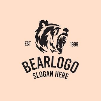 Illustration de logo rétro vintage rugir d'ours