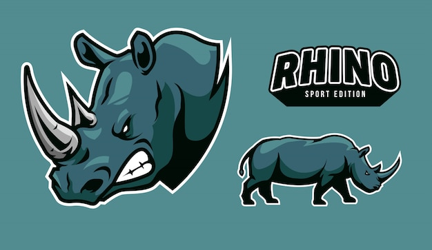 Illustration de logo rhinocéros