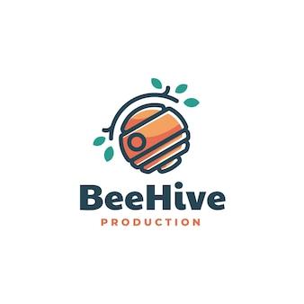 Illustration logo ruche dans style mascotte simple