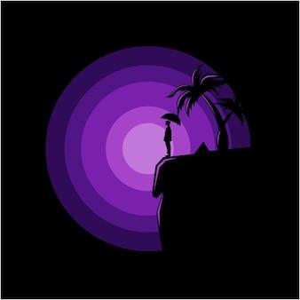 Illustration de logo de silhouette de vecteur d'un homme sur une falaise