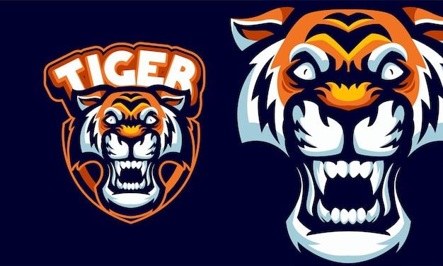 Illustration de logo de sport mascotte tête de tigre en colère