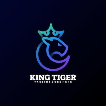 Illustration de logo style d'art de ligne de dégradé de tigre.