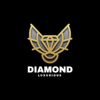 Illustration logo style art ligne diamant