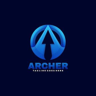 Illustration de logo style coloré dégradé archer.