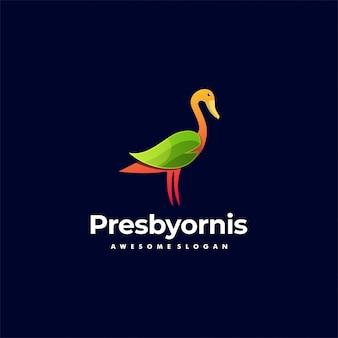 Illustration logo style coloré dégradé canard.
