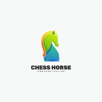 Illustration de logo style coloré dégradé de cheval d'échecs.