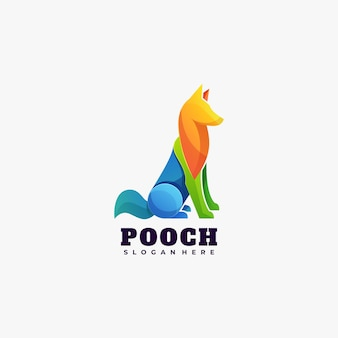 Illustration de logo style coloré de dégradé de chien.