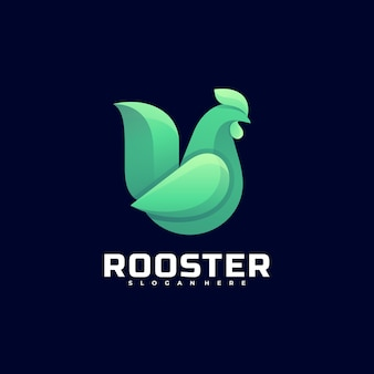 Illustration de logo style coloré dégradé de coq.