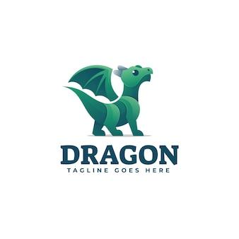 Illustration de logo style coloré de dégradé de dragon.