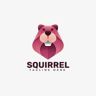 Illustration de logo style coloré dégradé d'écureuil.