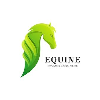 Illustration de logo style coloré dégradé équin.