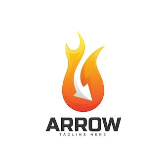 Illustration de logo style coloré dégradé de flèche.