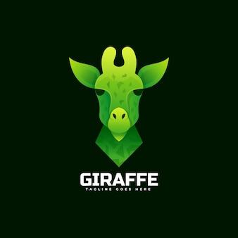 Illustration de logo style coloré de dégradé de girafe.