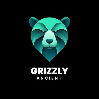 Illustration de logo style coloré dégradé de grizzly.